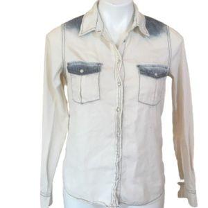 3/$15 BDG White Denim Button Down Shirt